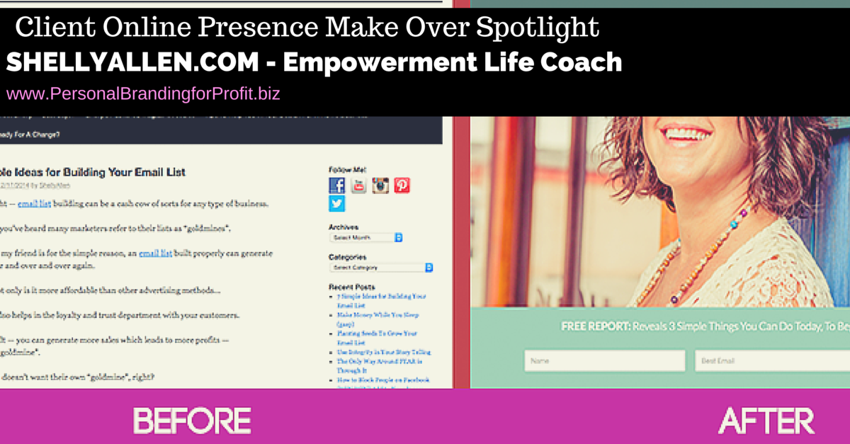 [Client Case Study] Shelly Allen Empowerment Coach – Online Presence Makeover